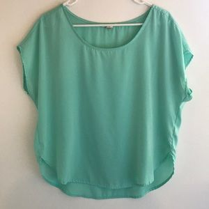 Light Turquoise High-Low Blouse